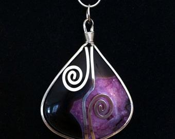 "Amazing Black & Purple Agate Pendant - 2 3/4"""