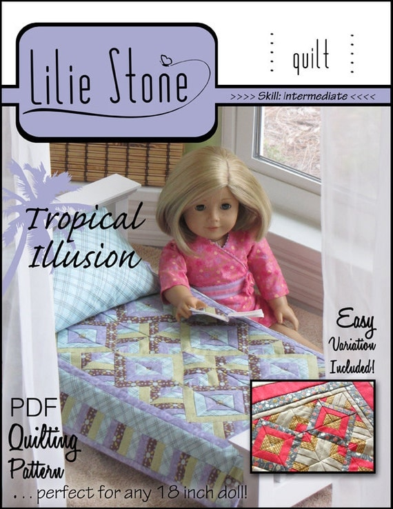 Pixie Faire Lilie Stone Tropical Illusion Quilting Doll Bedding Pattern for 18 inch American Girl Dolls - PDF