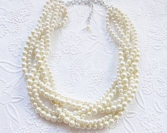 Pearl Statement Necklace, Chunky Pearl Necklace, Ivory Pearl Necklace, Braided Pearl Necklace, Bridal Necklace
