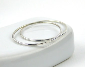 Extra Skinny Stacking Ring, Set Of Two, Sterling Silver Ring, Very Thin Knuckle Ring, Delicate Ring, Sterling Silver Jewellery 925