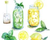 Watercolor Ice Tea Clip Art - digital printable item - 300 dpi PNG