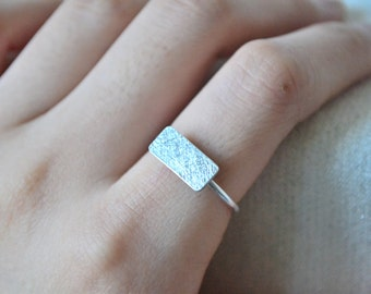 Simple Scratched Rectangle Ring-Sterling Silver-Modern Ring-Handmade-Everyday Jewelry-Great Gift for Him/Her