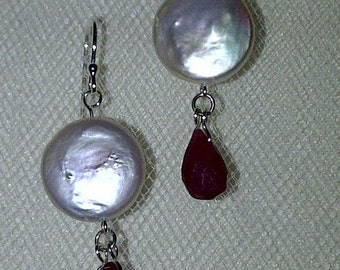 Coin pearl and ruby dangle earrings