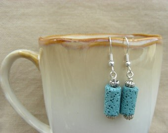 Blue Coral - handmade beaded dangle earrings