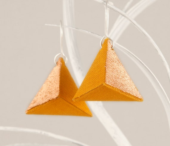 3d origami earrings triangle yellow mustard copper pyramid. Black Bedroom Furniture Sets. Home Design Ideas