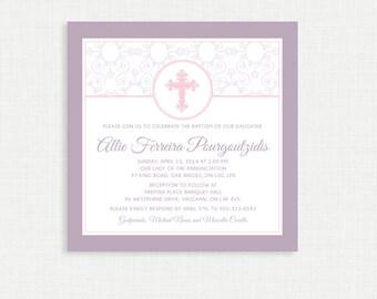 Printable Baptism Invitation - Swirl Printable Invite - Christening, First Communion, Dedication, Baby Blessing - Pink - Elegant border