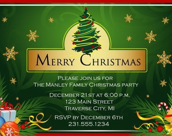 Golden Flakes Christmas Party Invitations - Green Tree - Company Christmas Invitation