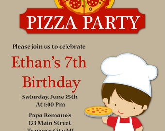 Pizza Party Invitation - Kids Pizza Birthday Invitation - Boy Pizza Party Invites