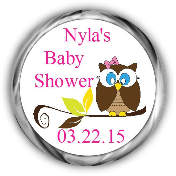 Baby Shower Stickers For Hershey Kisses ~ Items similar to owl baby shower hershey kisses stickers