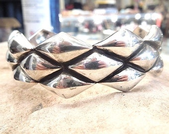 Sterling Silver Textured Bracelet - Bangle