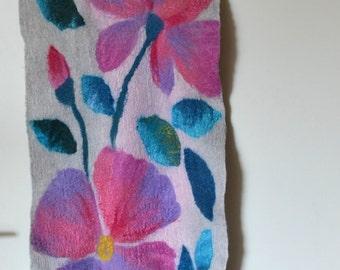 Scarf Pink garden, Flowers, Felt, felted, Wool, Silk, Gift, Accessories, handmade