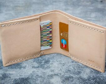 Minimalist handstitched leather wallet.