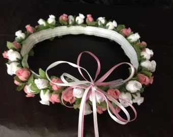 White and another color Silk Poly Rose Halo Flower Girl Head Piece Band with Green Leaves