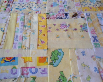 Flannel Baby Quilt in Yellow - Backside is ABCs on a white background