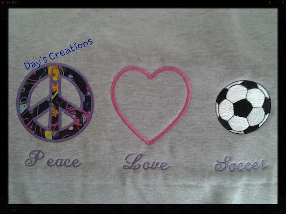 Youth Hooded Soccer Sweatshirt - Custom Peace Love Soccer youth hooded sweatshirt - Embroidered hood soccer sweatshirt