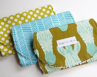 Gender Neutral Baby Burp Cloths - Set of Three - Teal & Lime Zebra Collection