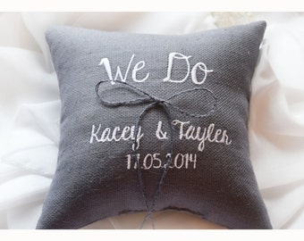 We Do Wedding ring pillow , ring beare pillow , embroidered pillow , personalized ring pillow  , personalized wedding pillow (R76)