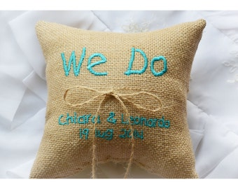 Personalized Burlap Wedding ring pillow , we do wedding pillow , ring pillow, ring bearer pillow with Custom embroidery (R68B)