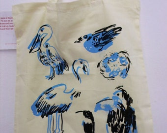 Birds Screen Printed Tote Bag