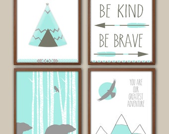 Nursery Art - Nursery Decor - Be Kind Be Brave - Tribal Nursery - Adventure - Bear - Cub - Mountains - Nursery Quote - Tepee - Set Of 4