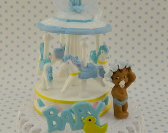 Baby Boy Carousel Cake Topper / Baby Shower / Decoration