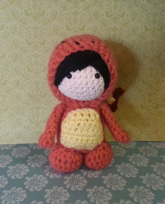 Amigurumi custom doll in Charmander costume
