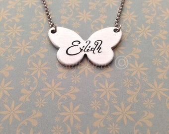 Hand Stamped Personalised Butterfly Necklace, Your Name child's name, personalized, lightweight