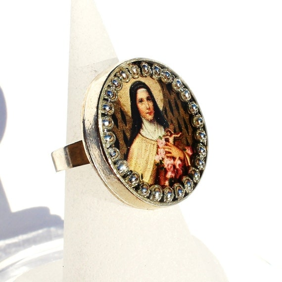 st therese adjustable ring catholic inspirational by