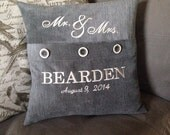 Mr & Mrs  Personalized Pillow - Machine Embroidered