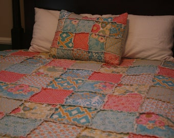 Handmade Bedding, Twin, Full, Queen, King Rag Quilt, Botanique, You Choose Size, Cotton, designer bedding, Coral, teal, apricot and aqua
