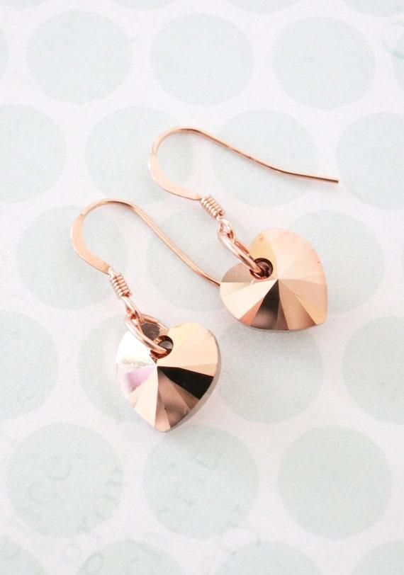 Rose Gold Heart Earrings - Rose Gold Filled, Swarovski heart crystal, romance, chic, Blush rose gold wedding bridal bridesmaid earrings