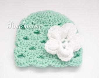 Mint Green Baby Hat, Baby Girl Hat, Crochet Girl Hat, Infant Girl Hat, Mint Green Hat, Baby Girl Outfit, Crochet Baby Hat, Hospital Hat