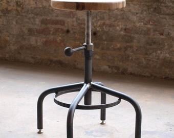 Oak Industrial Stool Adjustable Drill Press Stool bar stools