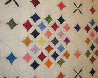 Cathedral Window Quilt. Hand Stitched, 3 in square with special effects