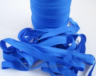 5/8 Fold Over Elastic, Cobalt Blue FOE, Elastic by the Yard, Satin Elastic, Shiny Elastic, Baby Headband, FOE, Foldover Elastic, foe