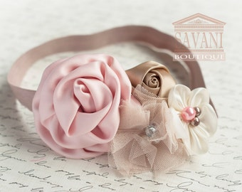 Baby headband, baby girl headband.DUST PINK & MOCHA  Baby headband, vintage , shabby chic roses headband, headband, Wedding flower girl
