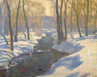Karl Thomas Plein Air Painting Oil on Canvas Utah Winter Snow Stream Large 30 x 40
