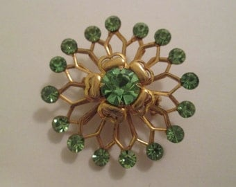 60s Light Green And Goldtone Floral Brooch