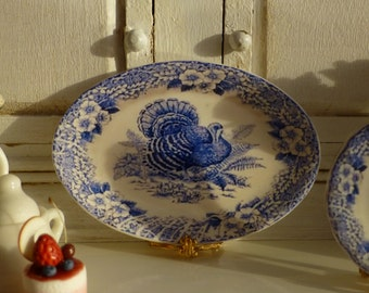 Blue and White Floral Turkey Dollhouse Miniature Porcelain Tray