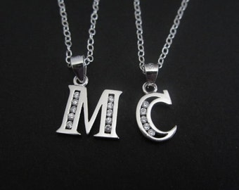 Sterling Silver Initial Necklace. Uppercase Initial. Sterling Silver Alphabet Necklace. Dainty Jewelry. Graduation Gift. Pendant Necklace