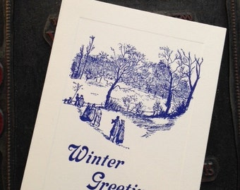 "Letterpress Seasonal Note Cards ""Winter Greetings"" - Set of 10 cards with matching envelopes"