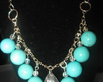 Beaded turquoise bobble necklace. Sale