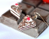 Blackforest pastry polymer clay earrings,Blackforest cake earrings,miniature food earrings