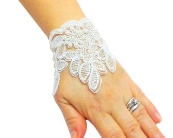 "Lace Bridal Bracelet, White, 9"", Bridal Wrist Cuff, Lace Gloves, Bridesmaid Bracelet, Wedding Lace Bracelet"