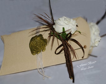 Ivory Rose Boutonniere pheasant feaher Pastel Wedding Groom Buttonhole Handmade Wedding Accessories