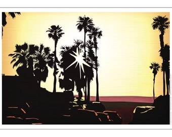 Palm Tree Setting Sun Poster