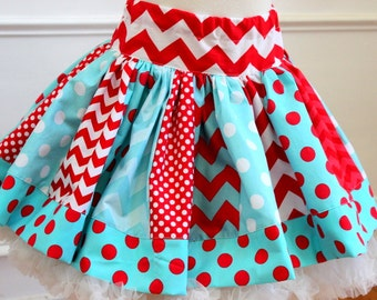 Aqua and Red girls skirt Chevron and polka dot twirly skirt for toddler girl back to school for girls birthday outfit