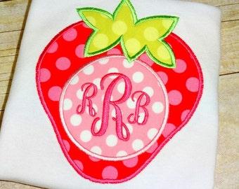 Girls strawberry shirt. Monogrammed summer strawberry stop for little girl. Baby Girl strawberry birthday shirt. Toddler girl summer shirt.