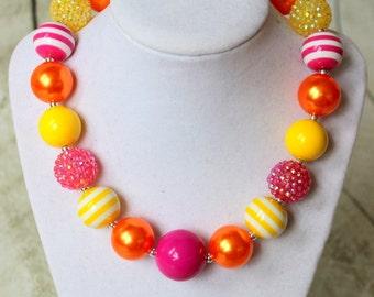 girls chunky bead necklace pink yellow orange bubblegum necklace bubble gum bead necklace toddler birthday  pink orange necklace birthday