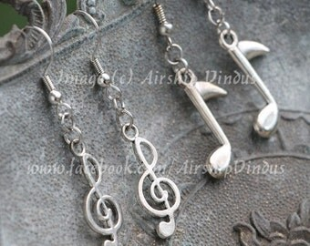 Music Earrings, Silver, Choice of Treble Clef, Music Note, or Both